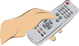 Pushing a TV remote. Finger pushing a TV remote Royalty Free Stock Image