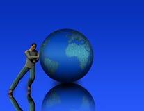 Pushing the world Stock Image