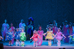Pushistiki. DNIPROPETROVSK, UKRAINE - MARCH 27: Unidentified children, ages 4-12 years old, perform PUSHISTIKI  on March 27, 2015 in Dnipropetrovsk, Ukraine Royalty Free Stock Images