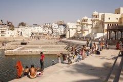 Pushkar圣洁湖在普斯赫卡尔市,拉贾斯坦 库存图片