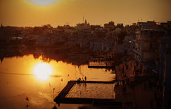 Pushkar city and the lake. Sunset view. Stock Photography