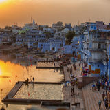 Pushkar city and the lake. Sunset view. Stock Photo