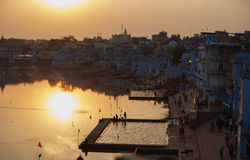 Pushkar city and the lake. Sunset view. Stock Images