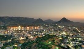 Pushkar the holy city India. Night view of holy city of Pushkar in Rajastan, India stock photo