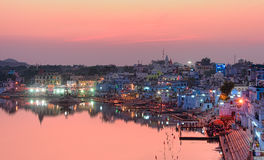 Pushkar Holy Lake at sunset. Royalty Free Stock Images