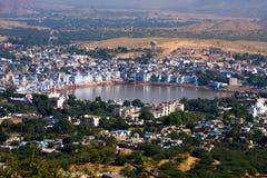 Pushkar, India. Hoogste mening. Stock Afbeelding