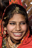 PUSHKAR, INDIA - NOVEMBER 21: An unidentified girl attends the P Royalty Free Stock Photo