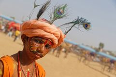 Portrait of a boy in Pushkar fair Stock Image
