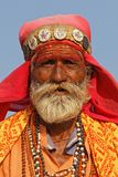 Portrait of an indian man at Pushkar fair stock image