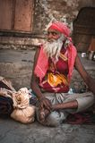 Indian monk in the street of Pushkar India royalty free stock photos