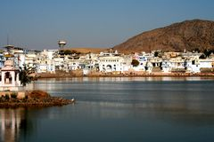 Pushkar Lake. This is the famous pushkar lake. The only place where according to Indian Mythology Brahma the Creator of the universe has his temple stock photo