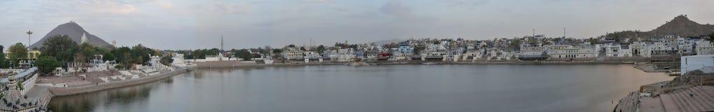 Pushkar Lake Panorama shot - Rajasthan - India, Holy Hindu City. It  is a  sacred pilgrimage destination for Hindus Royalty Free Stock Photos