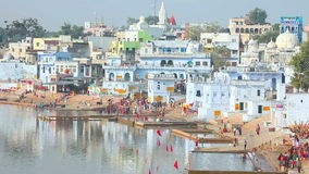 Pushkar lake stock video footage