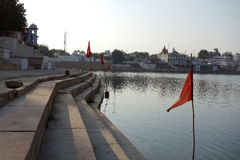 Pushkar Lake with Red Flags 2 Stock Images