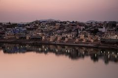 Pushers Lake,  Rajasthan. Pushkar Lake is a sacred lake of the Hindus, relating to the mythology of the creator-god Brahma, and is surrounded by bathing ghats Stock Photography
