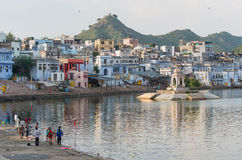 Pushkar lake at sunset, Pushkar - Rajasthan - India Stock Images