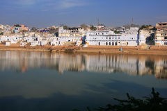 Pushkar lake and temples, India Stock Photo