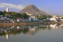 Pushkar lake and temples, India Royalty Free Stock Photos