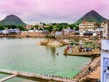 Pushkar, Rajasthan, India. View of Pushkar and his ghats, Rajasthan, India Stock Photo