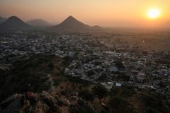 View on Pushkar and the Aravalli Hills from the Pap Mochani Gayatri Temple, Rajasthan, India. Pushkar is a town bordering the Thar Desert, in the northeastern Royalty Free Stock Photos