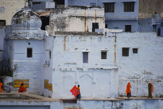 Pushkar women around temple and lake. Pushkar women around the temple and lake Stock Image