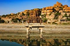 Pushkarani священное озеро в Hampi, Индии стоковое фото rf