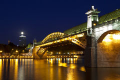 Pushkin (Andreevsky) bridge at night. Moscow Stock Images