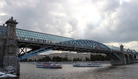 Pushkin bridge in Moscow. Pushkin bridge across the Moscow River in the summer royalty free stock images