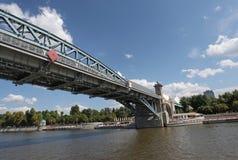 Pushkin bridge through Moscow river Stock Images