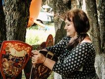 Pushkin festiwal w wiosce Polotnyany Zavod, Kaluga region, Rosja 6 2016 Czerwiec Zdjęcie Royalty Free