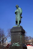 Pushkin monument against the sky in Moscow Royalty Free Stock Photo