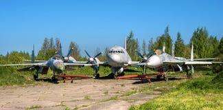 Pushkin, Rusland - Juni 5, 2017: Begraafplaats van oude vliegtuigen dichtbij St. Petersburg royalty-vrije stock afbeeldingen