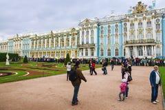 PUSHKIN RYSSLAND - JUNI 20 Catherine Palace i Pushkin Juni 20, Fotografering för Bildbyråer