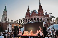 Pushkin`s birthday celebration. Public concert on the Red Square in Moscow stock photo
