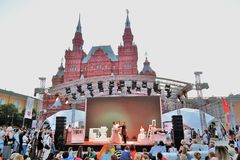Pushkin`s birthday celebration. Public concert on the Red Square in Moscow. It it dedicated to Alexander Pushking, famous Russian writer and poet, and it is royalty free stock images