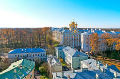 pushkin selotsarskoye St Petersburg Ryssland Catherine Palace och parkerar Arkivfoto