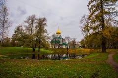 Pushkin, St Petersburg, Rússia O sovereign& x27 de Feodorovsky da igreja ortodoxa; catedral de s em Tsarskoye Selo fotos de stock royalty free