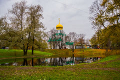 Pushkin, St Petersburg, Rússia O sovereign& x27 de Feodorovsky da igreja ortodoxa; catedral de s em Tsarskoye Selo fotografia de stock royalty free