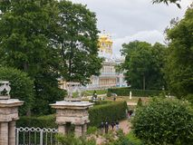 View to the Catherine Palace in Tsarskoye Selo. St. Petersburg, Russia. Pushkin, St. Petersburg, Russia - August 7, 2017: View from the Catherine Park towards Stock Images