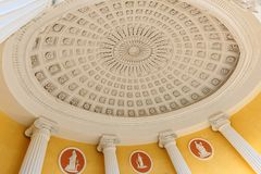 Dome of rutunda of Cold Bath pavilion. Pushkin, St. Petersburg, Russia - September 20, 2015: Dome of rutunda served as entrance to Agate Rooms of Cold Bath Royalty Free Stock Photos