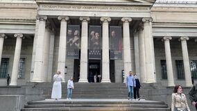 The Pushkin State Museum of Fine Arts Moscow. Entrance to the museum. Moscow Museum Night. Bill Viola exhibition promo banners. Co
