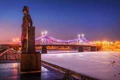 Pushkin in Tver night. Pushkin monument on the seafront at the Starovolzhsky bridge in the late evening Stock Image