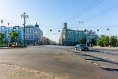 Pushking square and Tverskaya street of Moscow Stock Photo