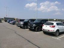 Pushkino, Moskau-Region, Russland Jily 30, 2016: Parken nahe Globus Lizenzfreie Stockfotos