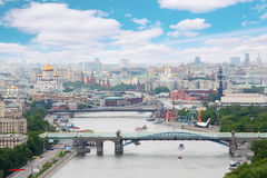 Pushkinsky And Krymsky Bridges At Day In Moscow Royalty Free Stock Photos