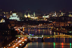 Pushkinsky bridge and Krymsky bridge at night Royalty Free Stock Photos