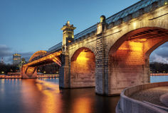 Pushkinsky bridge in Moscow. Pushkinsky (Andreevsky) bridge in Moscow, Russia Stock Images