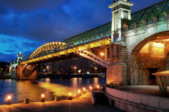 Pushkinsky bridge in Moscow. Pushkinsky (Andreevsky) bridge in Moscow, Russia Royalty Free Stock Photo