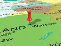 Pushpin на карте Варшавы Стоковое фото RF