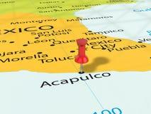 Pushpin on Acapulco map Stock Photos